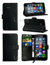 BlackBerry Leap - Carbon Fibre Effect Wallet Case Cover & Retractable Pen
