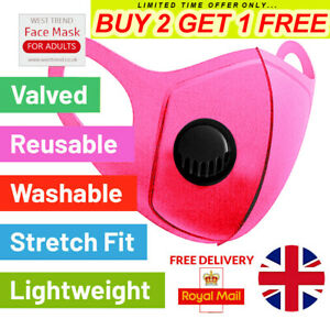 BUY 2 GET 1 FREE...Mask Breathable Washable Reusable Black Unisex Covering Virus