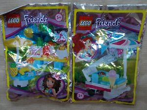 2 NEW GIRLS LEGO SUMMER HOLIDAYS FOIL SETS - SMOOTHIE STAND & ICE CREAM CART