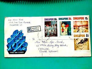 Singapore 1972 REgistered mail FDC via Vietnam cover