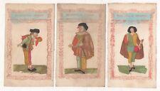 Pochoir.3 gravures de Polichinelle,Italien,Sicilien, Espagnol.circa 1850
