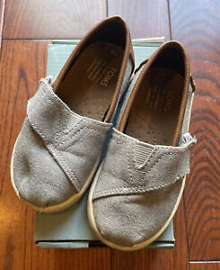 Boys TOMS Classic Forest Grey Chambray Tiny Shoes Size US 6 T6