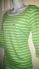 Hollister Green w/White Stripes 3/4 Sleeves Size S