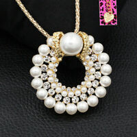 Betsey Johnson Pearl Crystal Round Pendant Long Chain Necklace/Brooch Pin Gift
