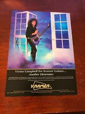1988 VINTAGE 8X11 PRINT Ad for KRAMER GUITARS NIGHTSWAN VIVIAN CAMPBELL B BLAZE