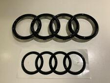 Audi Emblem Rings Black Shiny Front + Rear A1 A3 A4 A5 A6 A7 Genuine New