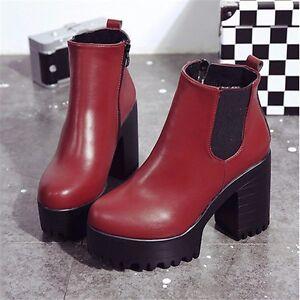 Women Leather Ankle Boots Chelsea Chunky Platform Hidden Heel Combat Shoes