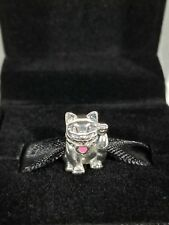 AUTHENTIC PANDORA Waving Cat Charm Lucky Sterling Silver 790989EN05 in BOX
