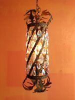 Vintage French Crystal Bronze Brass Lantern Chandelier Hall Ceiling Fixture