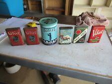 Vintage Lot of 6 Tobacco Tins Velvet Kentucky Club Bugler Etc. Lot 21-28-3