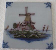 Tichelaar Makkum Polychrome Tile - Windmill & Boats