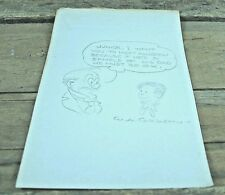 Original Pencil Sketch on Note Paper by W. A. Carlson 1940s Comic Book Artist