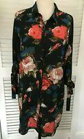 PRETTY LITTLE THING UK 12 GORGEOUS BLACK PRETTY FLORAL PRINT SHIRT DRESS EU 40