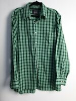 Allen Solly Nottingham England Men's Green Check Long Sleeve Shirt Size 42