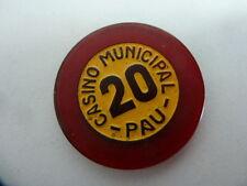 1 JETON DE CASINO: CASINO DE PAU - valeur : 20 - d:3.30cm