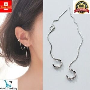 Solid 925 Sterling Silver Crystal & Chain Dangle Drop CZ Stylish Earrings