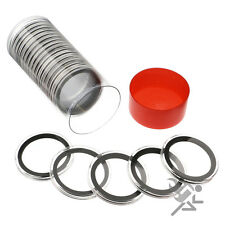 Silver & Copper Round Holder, Red Capsule Tube & 20 Air-Tite 39mm Black Rings