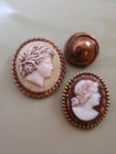 Trabajo Antiguo Vintage Lote Pin broche camafeo de resina 2 1 Oro Plateado Broche victoriano