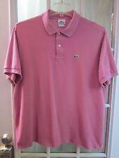 Authentic Lacoste Raspberry Rose Color Short Sleeve Polo Shirt Men 7 **VG**