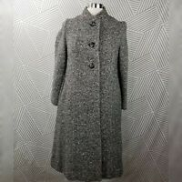 Vintage 50s 60s Montaldos Tweed Wool Coat Size Medium Button long glamour
