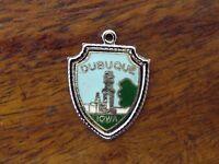 Vintage silver DUBUQUE IOWA STATE ENAMEL TRAVEL SHIELD charm ONE OF KIND #2