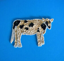 Vintage COW Pin Brooch Sequin & Bead Applique Black & White New See ****'s