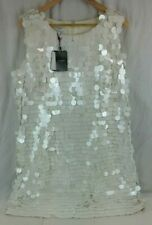 HOBBS Sequin Jasmine Dress Mini Cocktail WHITE UK 18 RRP £189 - New With Tags