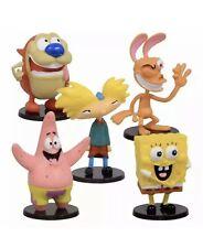 "Nickelodeon 3"" Mini Collectible Figurine Set Of 5 Spongebob Patrick Ren & Stimpy"