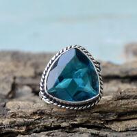Trillion Blue Apatite Quartz 925 Sterling Silver Handmade Designer Gift Ring