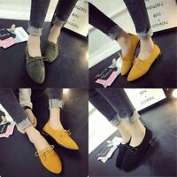 Women Pointy Toe Flat Heel Loafers Lace up Shoes Pump Casual Boats Shoes uk2.5-7