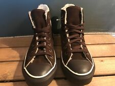 Converse All Star Hi Top Suede Chocolate with with Chocolate faux fur lining New     7878f8