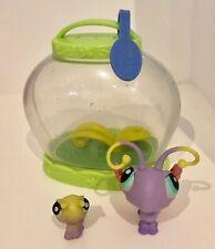 Littlest Pet Shop Pet Pairs Figures Butterfly Caterpillar Take Along Carry Case