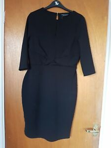 Dorothy Perkins Black Mini Bodycon Dress Size 14 New With Tags