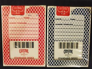 2 OHIO Bee Red & Blue Crystal Casino Standard Index Playing Cards Decks! USPC!