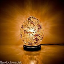 Mosaic MINI Glass Egg Lamp - GOLD AUTUMN Bedroom/Table Light