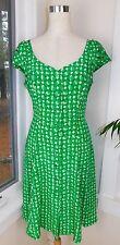 NEW Escada Green & White Plant Anthropologie Basketweave Silk Button Dress 40