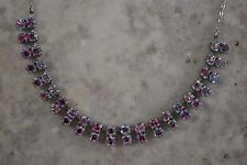 VINTAGE 1950s iris glass necklace diamante wedding bridal rhinestone paste
