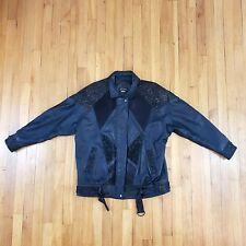 VTG Womens Leather Jacket w/ Paisley Design Patterns Size Medium