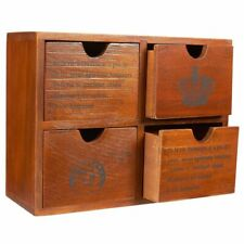 Small Wood Desktop Organizer Storage Box With Drawers French Design 4 Drawers