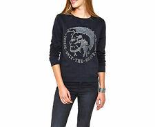 DIESEL F-Radi-T Felpa Sweatshirt Womens Jumper Size S M Black Crew Neck Pullover