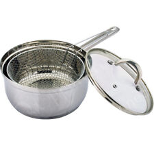 HOME 22cm Stainless Steel Chip Pan Silver Excluding Halogen And Induction