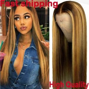 Fashion Ombre Brown Human Hair Wigs Brazilian Full Remy Front Wig 2021