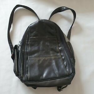 Vintage 90s Y2K Black Leather Backpack Worn-In Phone, Zipped &Security Pockets