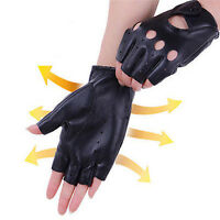 PU Leather Women Half Finger Gloves Driving Cycling Sports Fingerless Gloves Efo