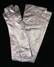 """Vintage 60's Ladies FownesSilverLamé Gloves 24"""" Pearl Buttons Beautiful Large"""