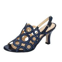 scarpe donna SHOEMAKER 39 EU sandali blu camoscio strass BS68-39