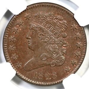 1828 C-3 NGC MS 64 BN CAC Classic Head Half Cent Coin 1/2c