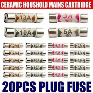20PCS Domestic Fuses Household Mains Electrical Cartridge Plug Mixed Ceramic
