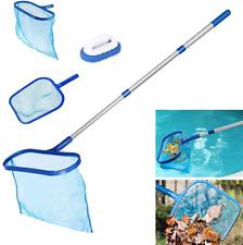 Swimming Pool Skimmer Set, Swimming Pool Pond Flat Net & Deep Bag Leaf Rake with