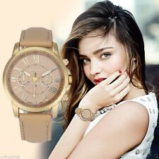Womens Fashion Geneva Roman Numerals Leather Analog Quartz Wrist Watch Hot